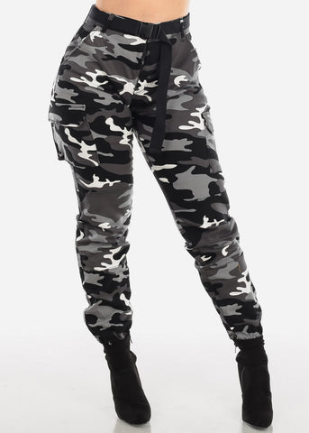 Image of Camo Cargo Pants Black Belted