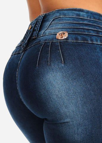 Image of Mid Rise Butt Lifting Skinny Jeans