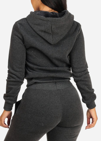Image of Solid Charcoal Sweater W Hood