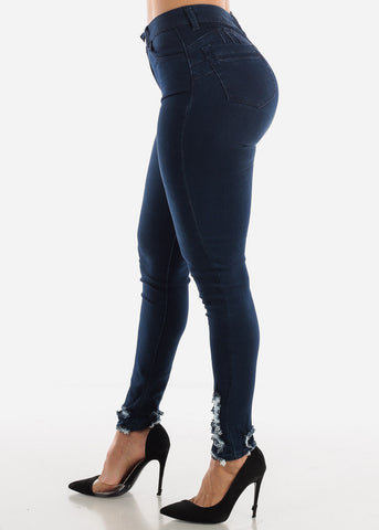 Ripped Ankle Butt Lift Jeans