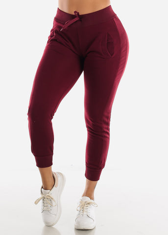 Image of Burgundy High Rise Jogger Sweatpants