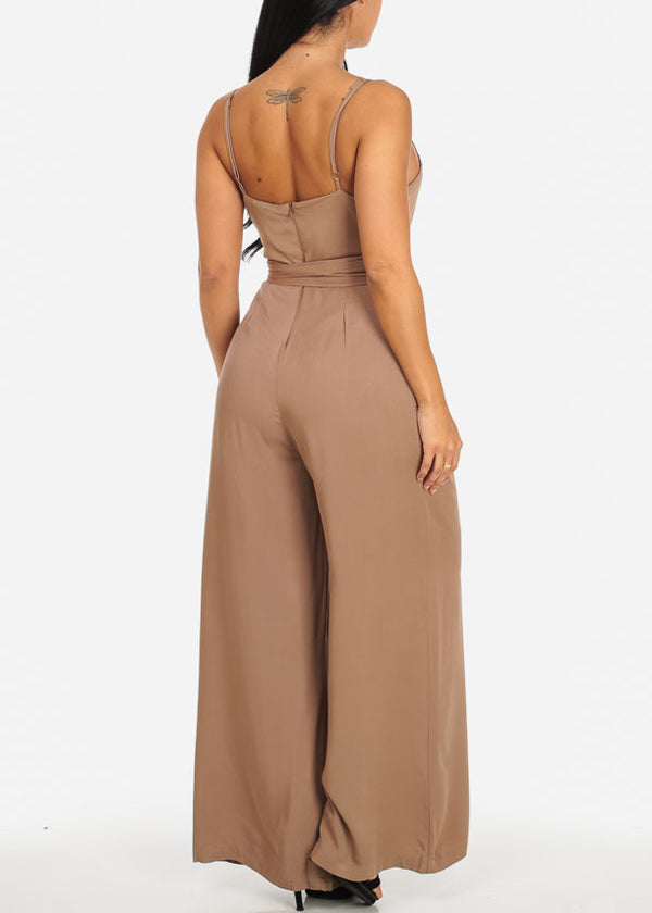 Stylish Taupe Wide Legged Jumpsuit