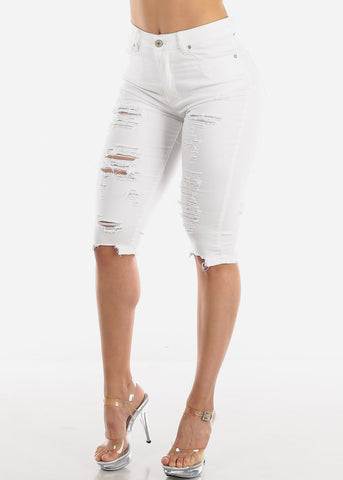 Image of High Rise Torn White Denim Capris