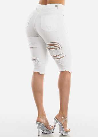 High Rise Torn White Denim Capris