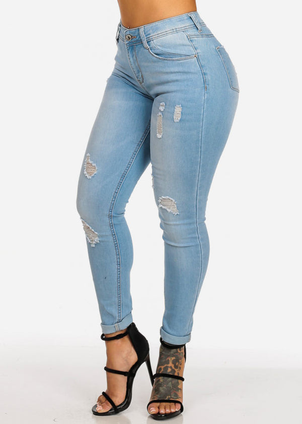 High Waisted Light Wash Distressed 1 Button Ankle Skinny Jeans