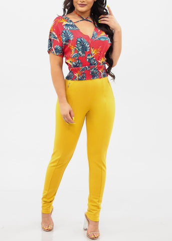 Women's Junior Ladies Sexy Dressy Must Have Going Out Casual Clubwear Night Out High Rise Zipper Detail Tummy Control Light Mustard Yellow Skinny Pants