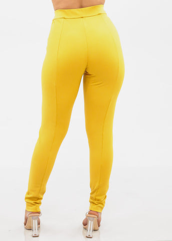 High Rise Mustard Dressy Pants