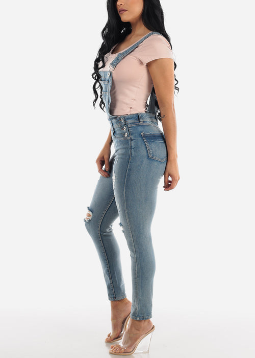 Faded Torn Denim Overall