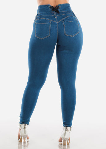 Sexy Butt Lifting Levanta Cola Colombian Design High Waisted 4 Button Lace Up Back Design Med Wash Skinny Jeans