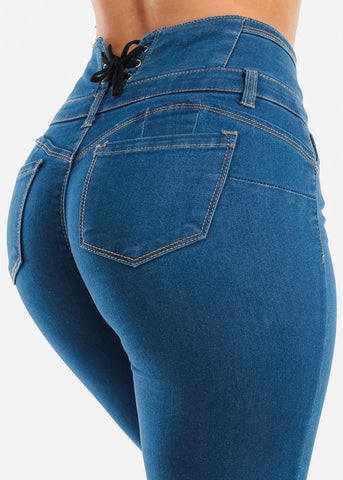 Image of Sexy Butt Lifting Levanta Cola Colombian Design High Waisted 4 Button Lace Up Back Design Med Wash Skinny Jeans