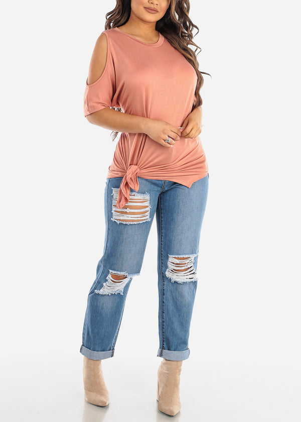 High Rise Light Wash Ripped Boyfriend Jeans