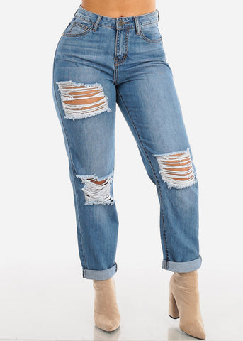 Image of High Rise Light Wash Ripped Boyfriend Jeans