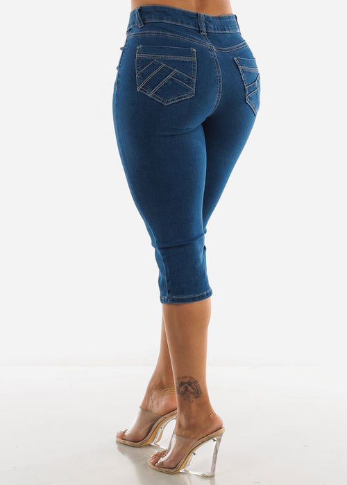 High Waist Med Blue Capris