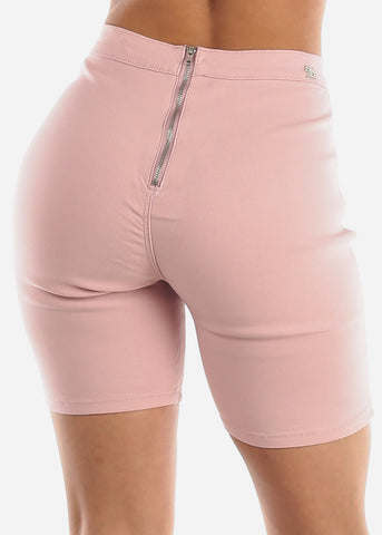 Image of High Rise Slim Fit Pink Biker Shorts