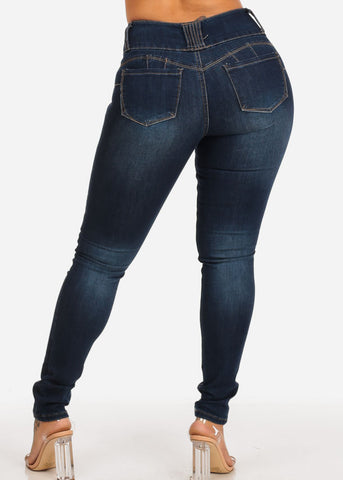 Butt Lifting Mid Rise Distressed Dark Skinny Jeans