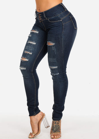 Image of Butt Lifting Mid Rise Distressed Dark Skinny Jeans