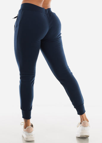 Image of Navy High Rise Jogger Sweatpants