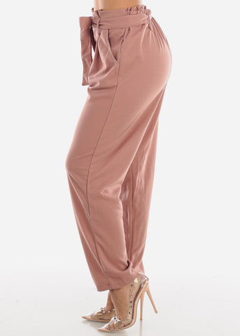 High Waisted Cinched Waist Mauve Dress Pants with Belt