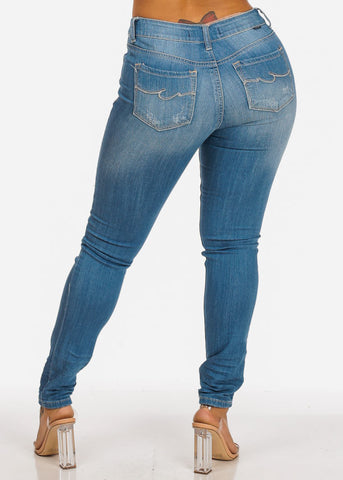 Image of Distressed Mid Rise Skinny Jeans