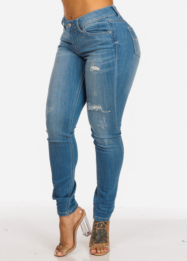 Distressed Mid Rise Skinny Jeans