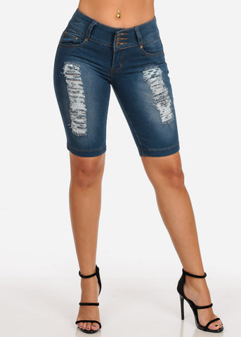 Women's Junior Ladies Mid Rise 3 Button Butt Lifting Levanta Cola Distressed Med Wash Denim Bermuda Shorts