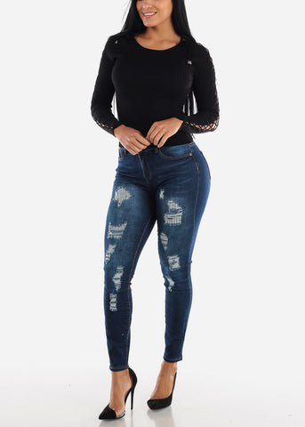 Image of High Rise Distressed Skinny Jeans