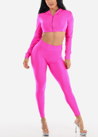 Neon Pink Satin Crop Hoodie & Pants (2 PCE SET)