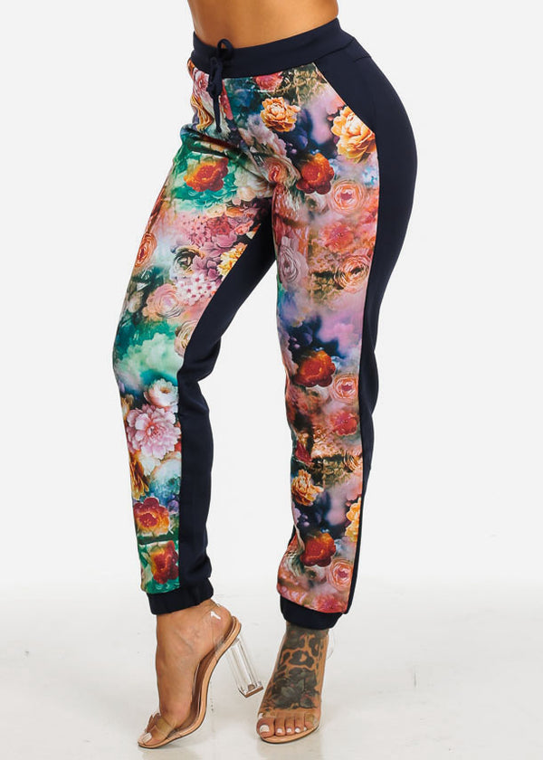 High Rise Floral Print Navy Pants