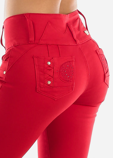 Levanta Cola Mid Rise Red Denim Capris