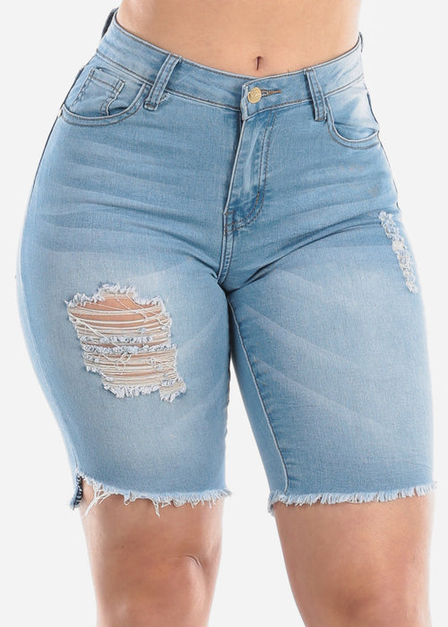 1 Button Mid Rise Distressed Ripped Light Wash Denim Jean Bermuda Shorts For Women Ladies Junior