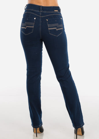 High Rise Bootcut Dark Stretchy Jeans