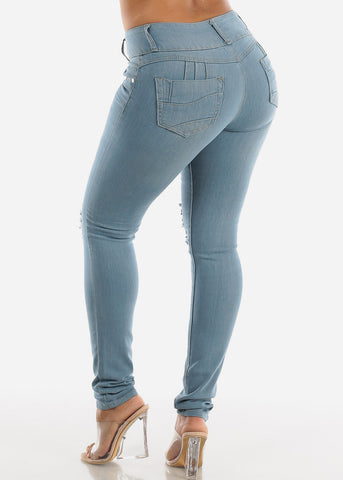 Image of Light Wash Butt Lifting Denim Skinny Jeans