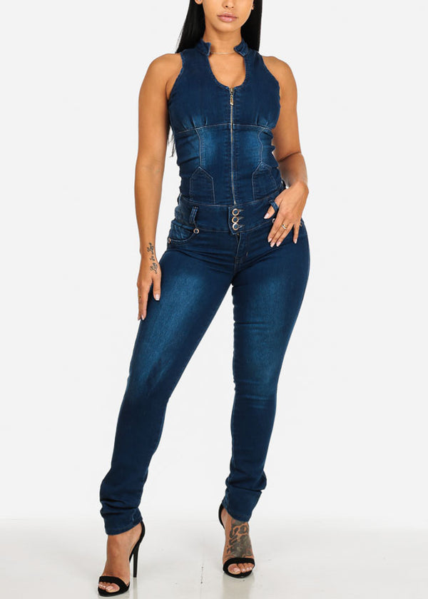 Med Wash Butt Lifiting Denim Jumpsuit