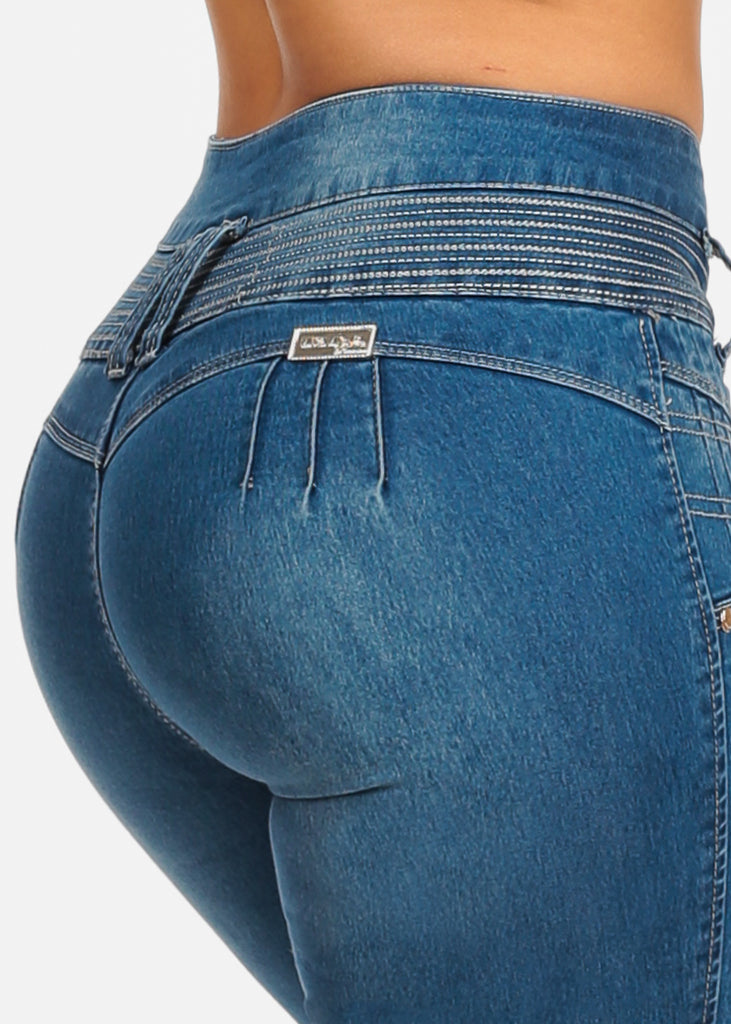 Light Wash Butt Lifting 4 Button Closure colombian Design Skinny Jeans
