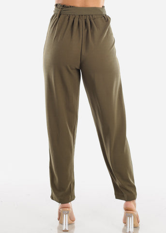 High Waisted Cinched Waist Olive Dress Pants with Belt