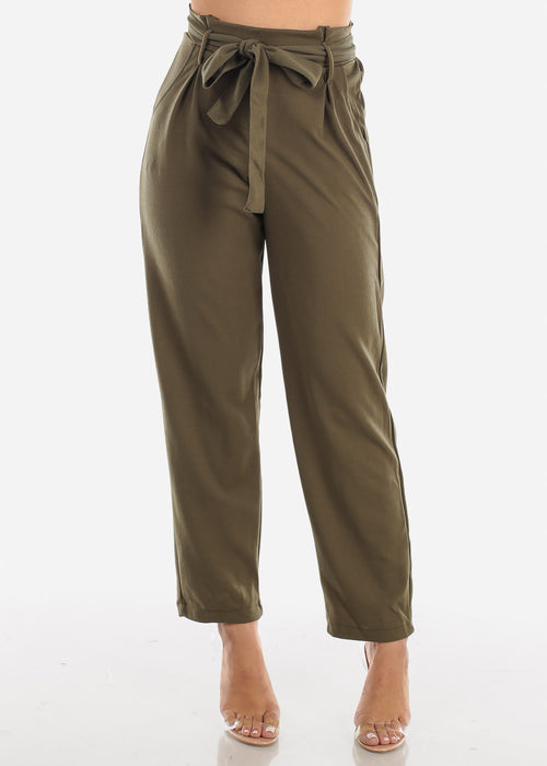 High Rise Olive Palazzo Trousers