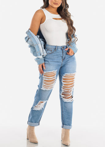 High Waisted Distressed Boyfriend Jeans