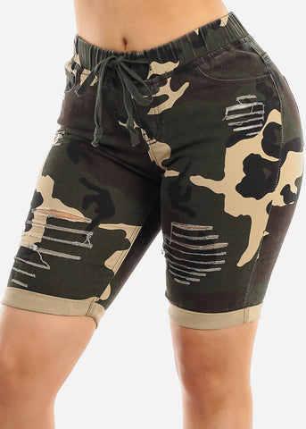 Torn Camouflage Bermuda Shorts
