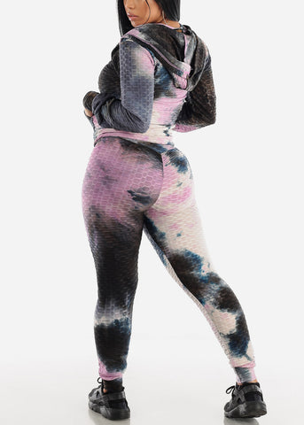 Anti Cellulite Tie Dye Pink Top Jacket & Leggings  (3 PCE SET)