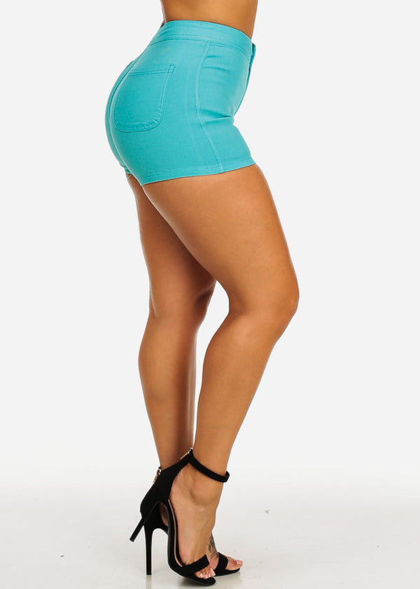 Teal High Rise Summer Shorty Shorts