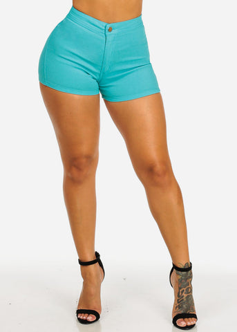 Image of Teal High Rise Summer Shorty Shorts