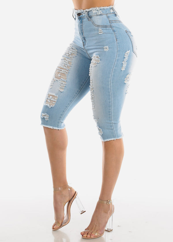 Light Wash Torn Denim Capris