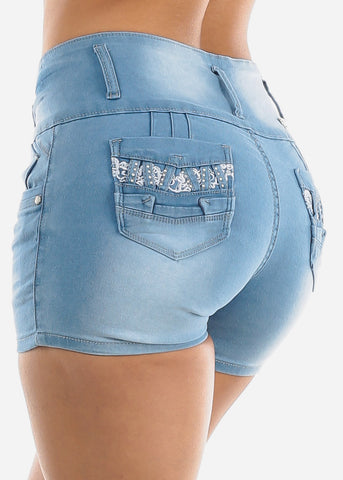 Image of Light Wash Levanta Cola Denim Shorts