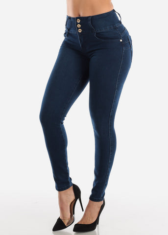 Image of Butt Lifting High Rise Dark Skinny Jeans