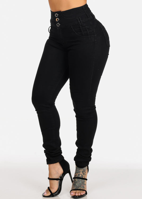 Black High Waisted Butt Lifting Skinny Jeans
