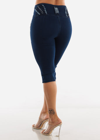 Butt Lift Dark Denim Capris