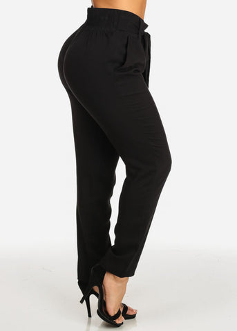 High Rise Solid Black Elastic Waist Lightweight Skinny Pants
