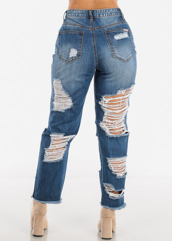 Image of High Waisted Torn Boyfriend Jeans
