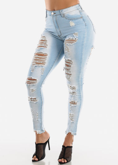 Double Sided Torn Light Wash Skinny Jeans