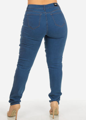 Plus Size Light Blue Ripped High Rise Skinny Jeans